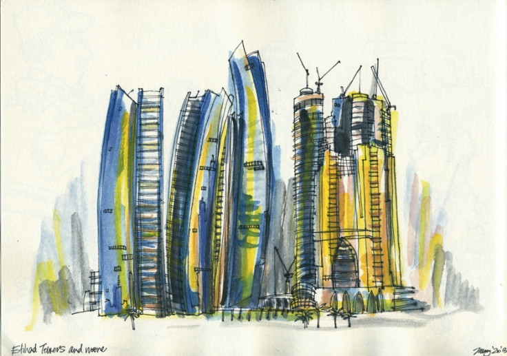 Etihad Towers and a work in progress gold tower - watercolours and artline