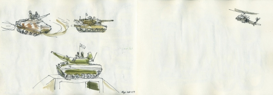 Military manoeuvres - watercolours and artline