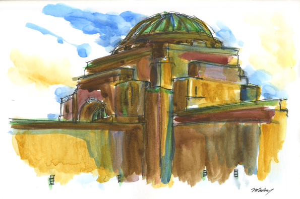 Australian War Memorial - watercolours and pen
