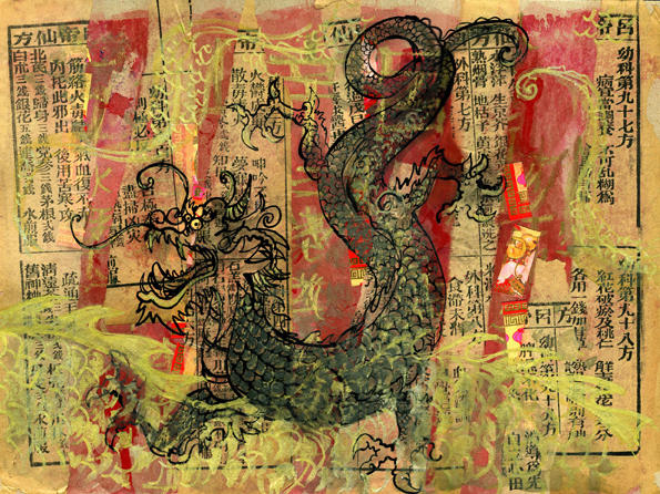 Another one I did using old Chinese prayer books, red packets, gouache, indian ink and a gold oil pastel
