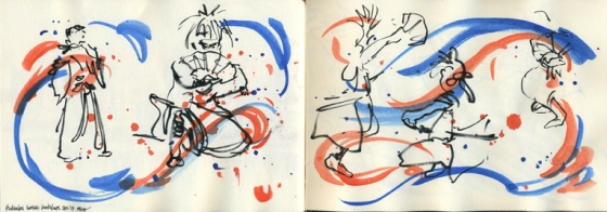 Quick sketches during a performance