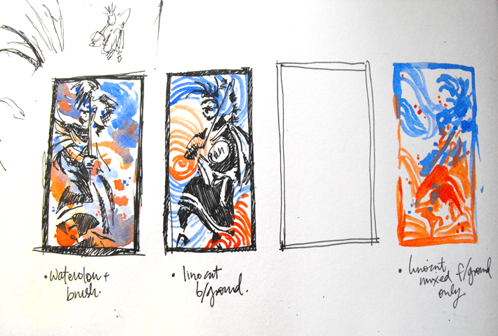 Thumbnails in the beginning, to try and interpret what was inside my head.