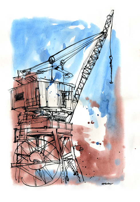 Watercolours and dip pen  with ink
