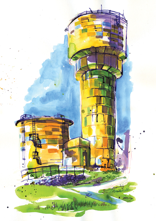 Watercolours and coloured ink with dip pen