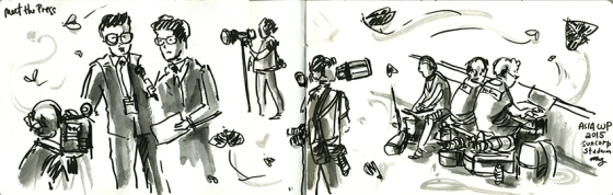 The Press at Suncorp Stadium. Media - Japanese brush felt pen and watercolours