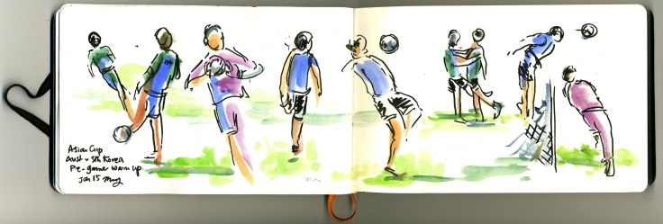 The Socceroos (Australia) and Taeguk Warriors (Sth Korea) warming up pre-game. Media - Japanese brush felt pen and watercolours.