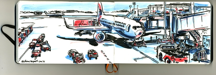 Hours to kill at Brisbane Airport. Media - Japanese brush felt pen and watercolours.