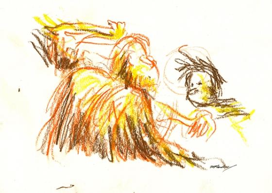 Orang-utans - oil pastels